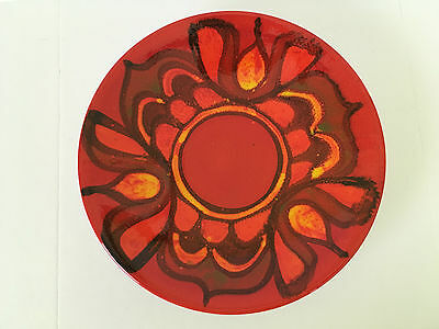 Poole Art Pottery Dish Plate - Red, Orange, Yellow - Made in England