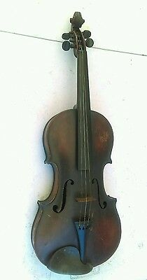 Old Antique Unmarked 4/4 Violin, Good Tiger Back