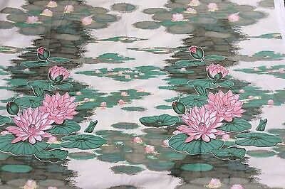 Vtg boho 80s Warner & Sons The Floating Garden, Water Lillies Fabric 7.5m