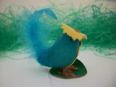 Vintage Flocked Blue Bird in her Easter Bonnet made exclusively for McCrory's