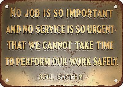 """Bell System Safety Message 10"""" x 7"""" Reproduction Metal Sign"""