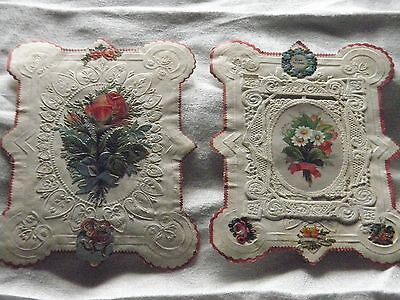 Antique Victorian 2 x  greetings cards pink borders