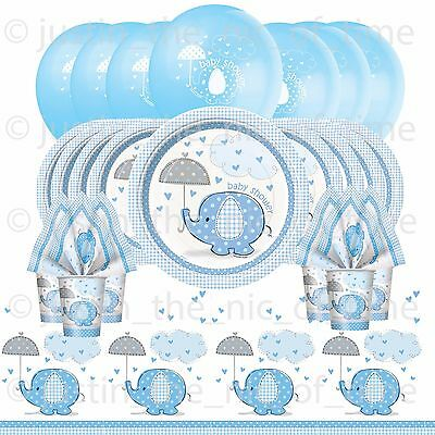 BABY SHOWER BOY Party Pack Tableware Kit BABY ELEPHANTS With Helium Balloons