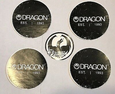 "Dragon Goggles 4.25"" & 3"" Decals Stickers - Set / Lot of 5 - Authentic Snowboard"