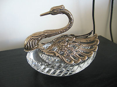Birks Sterling & Crystal Swan Master Open Salt