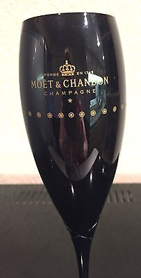 Moet Chandon Champagne Black Crystal  Rare Etched Ribbon Flutes X 1 Unboxed New