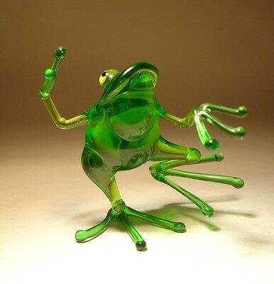 "Blown Glass Figurine ""Murano"" Art Animal Green Dancing FROG 1"