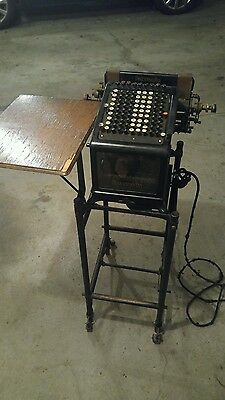 Antique Burroughs Adding Machine w/ stand cart Glass Sides Early 1900s