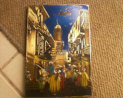 Engraved  picture. Egyptian scene.Gold/blue green colours