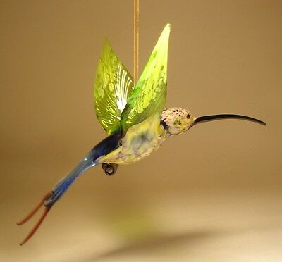Blown Glass Figurine Bird Hanging Swallow Tail Green & Blue HUMMINGBIRD Ornament