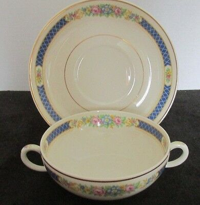 Syracuse China Haddon Blue Band Floral Old Ivory Cream Soup Bowl & Saucer (4 Ava