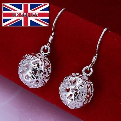 Fashion three-dimensional ball hanging pendant earrings, Silver plated earrings