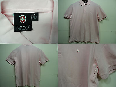 Victorinox Swiss Army Mens XL Polo Shirt Pink Pique Pima Cotton Short Sleeve