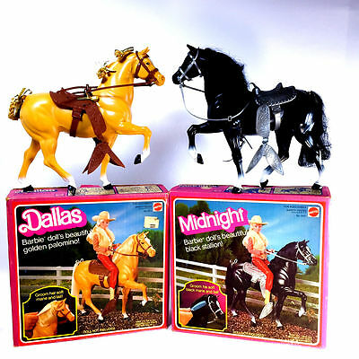Vintage Barbie Horse Lot (2) Dallas and Midnight Horses with Boxes