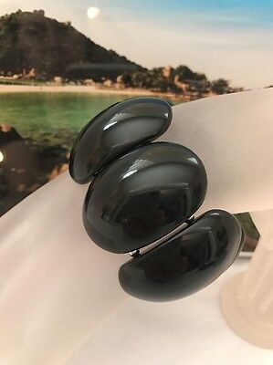 Vintage Wide Thick Lucite Black Oval Domed Panel Stretch Bracelet
