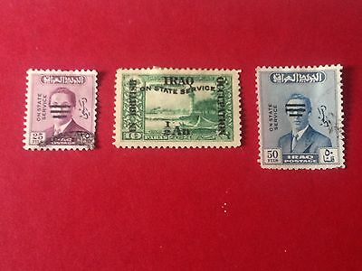 Wonderful Collection Iraq 3 X Stamps 1920 On State Service British Occupation