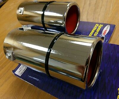 2x 80MM CHROME STAINLESS STEEL CAR TAIL EXHAUST PIPE TIP END TRIM RACING MUFFLER