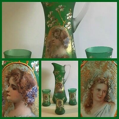 Antique Victorian Moser/Bohemian Enamelled Portrait Pitcher & Tumblers NEW PRICE
