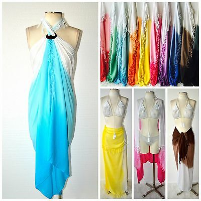 BEACH GYPSY Boho Ombre Dip Dyed Fringe Sarong Wrap Pareo Cover Up 10 Colors XL
