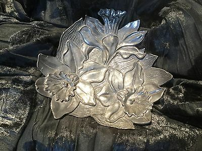 1990 Seagull Pewter Canada Daffodils Dish Amazing Details t