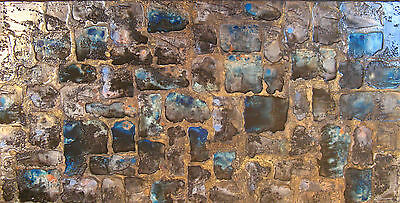 PPP Art square gold blue black textured glazed beaded acrylic Abstract Painting