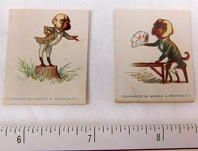 Lovely Pair Pug Dogs Small Anthropomorphic Playing Cards Lecturing Wemple  F49