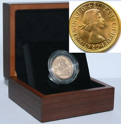 1959 Queen Elizabeth II Gold Sovereign + Capsulated within Luxury Case