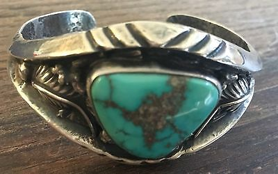 """signed"" By Renowned Artist Heavy Vintage Navajo Turquoise & Sterling Bracelet"
