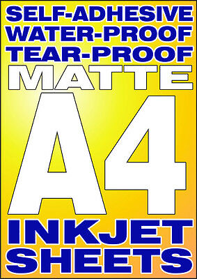 Eight A4 Sheets of Sticky-backed Plastic for inkjet printers. Waterproof.
