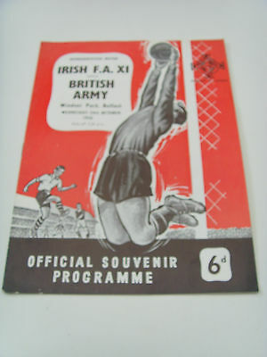 A 1956 Football Programme Irish F.a.xi V The British Army Windsor Park Belfast