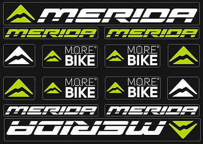 Merida Bicycle Frame Decals Stickers Graphic Adhesive Set Vinyl White Green