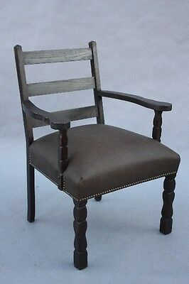 1920s Spanish Revival Armchair Wood & Leather Antique Riveted Chair (9815)