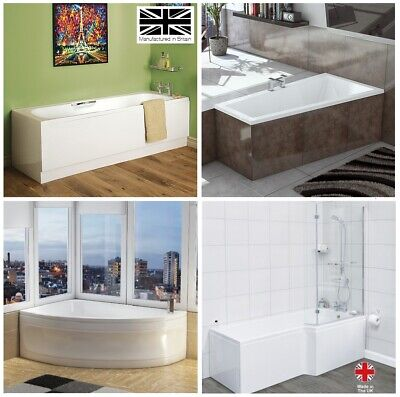 Modern Space Saver Small Bath 1500 Corner Single Ended P Shape UK Made