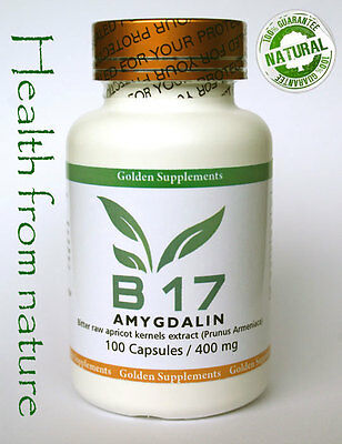 VITAMIN B17 PURE 100% AMYGDALIN 100caps/400mg each apricot kernels seeds extract