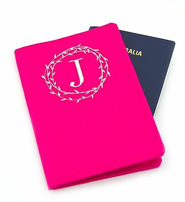 Personalised Initial Wreath Passport Cover, Monogram Embroidered Passport Holder
