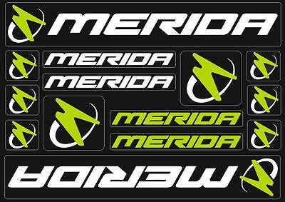 Merida Bicycle Frame Decals Stickers Graphic Adhesive Set Vinyl White Green #2