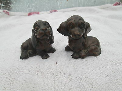 Vintage two little brown dog ornaments well detailed resin