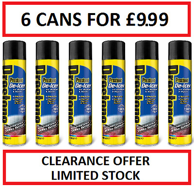 PRESTONE DE-ICER 6 Cans for £9.99! FREE POST. Works to -36°c. Prevents Refreeze.