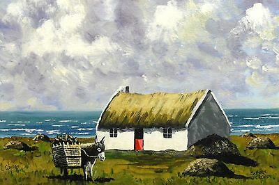 Irish Art,Original Painting,Carrying Home the Turf, Co Clare,by Gerry Dillon.