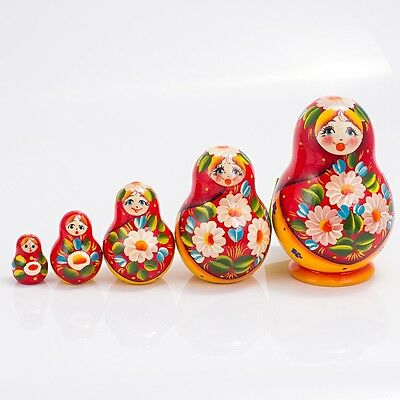 Russian Doll Nesting Doll Matryoshka Made in Russia 4'' Hand Painted 5 pc Summer