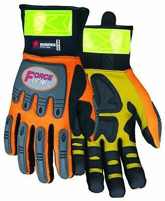 MCR Safety HV100 ForceFlex High Visibility Orange Synthetic Leather Gloves Large