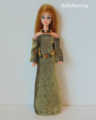 DAWN DOLL CLOTHES Medieval Gold Gown + Belt + Necklace Fashion NO DOLL d4e