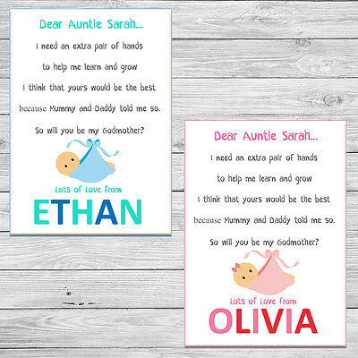 Cute Will You Be My Godmother Godfather Godparents Poem Request Card + Envelope