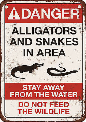 """Danger Alligators and Snakes 10"""" x 7"""" Reproduction Metal Sign"""