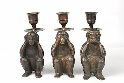 VTG SF BAY TRADING Brass Three Wise Monkey Candle Holders See/Hear/Speak No Evil