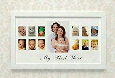 """My First Year"" Photo Moments ~ Baby Keepsake Frame ~ White"