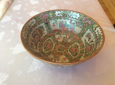 Antique Chinese Canton Famille Rose Hand Painted Footed Bowl