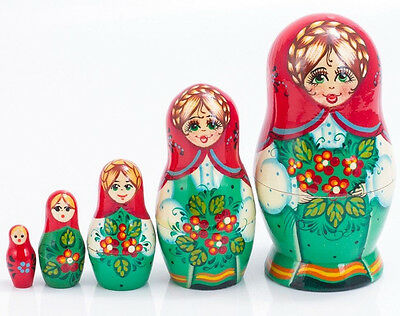 Nesting Dolls Matryoshka Made in Russia Hand Painted Russian Doll 4''