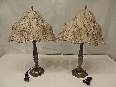 Pair 1930's Brass Table Lamps, dresser lamp custom hand-made embroidered shades