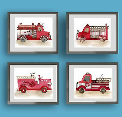 firetruck fire engine baby boy nursery kid children wall art print decor picture